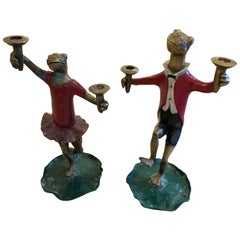Pair of Whimsical Painted Bronze Dancing Frog Candlesticks