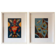 Pair of Whimsical Surrealist Oil on Panel Paintings in Shadow Boxes