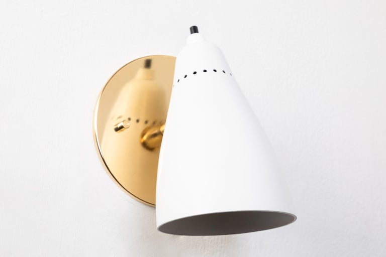 Painted Pair of White 1950s Giuseppe Ostuni Articulating Sconces for O-Luce For Sale