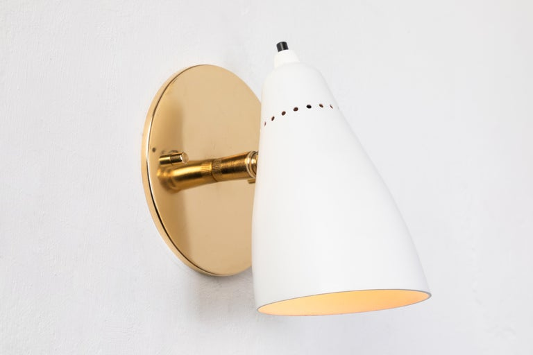 Mid-20th Century Pair of White 1950s Giuseppe Ostuni Articulating Sconces for O-Luce For Sale