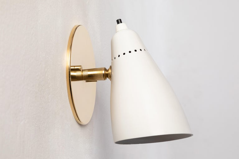 Pair of White 1950s Giuseppe Ostuni Articulating Sconces for O-Luce For Sale 1