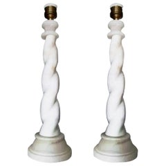 Alabaster Table lamps Barley Twist Art Deco  Italy, Early 20th Century