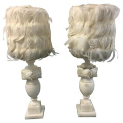 Pair of White Alabaster Carved Lamps with Custom Feather Shades