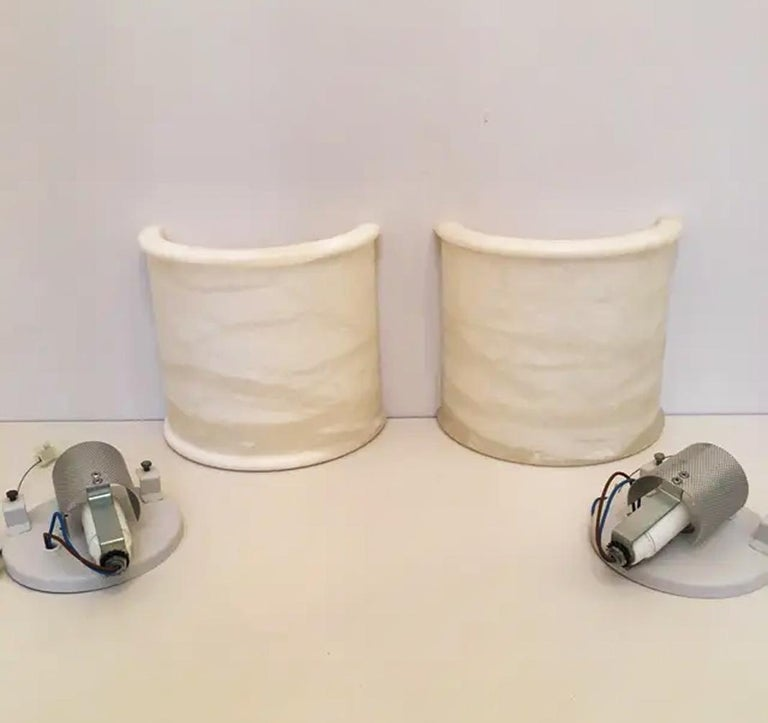 Spanish Pair of White Alabaster Minimalist Wall Sconces