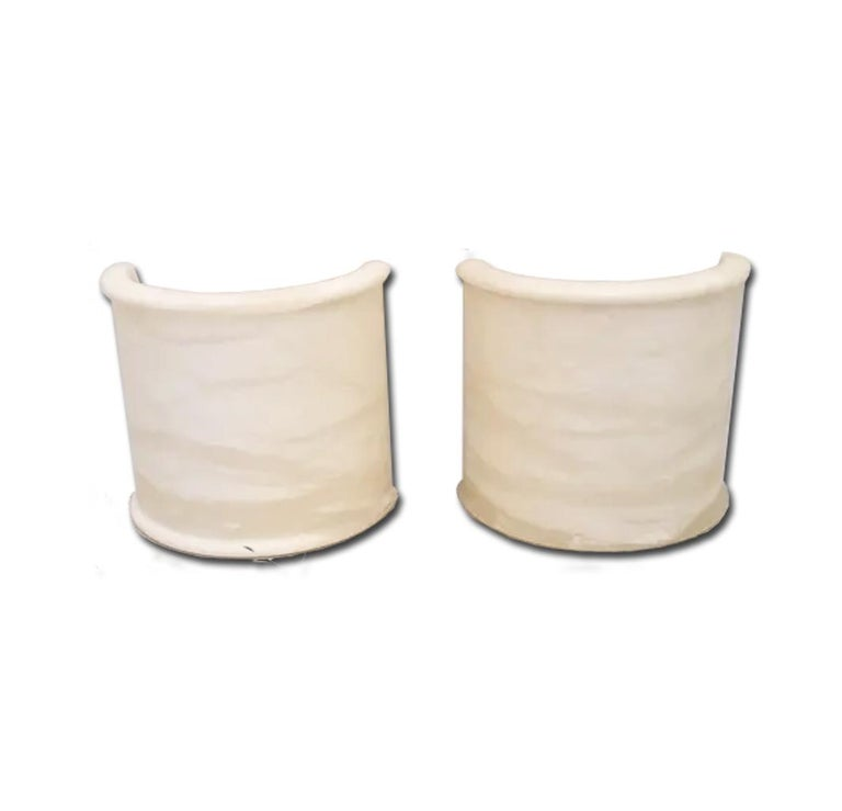 Pair of White Alabaster Minimalist Wall Sconces 1