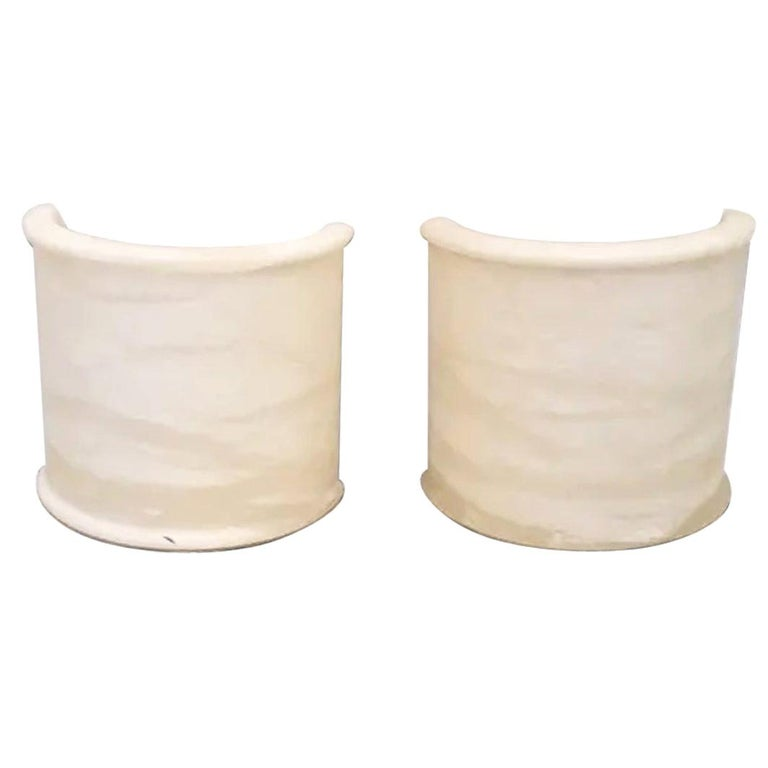 Pair of White Alabaster Minimalist Wall Sconces