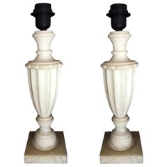 Pair of White Alabaster Table Lamps Classic Style, Italy Mid-20th Century