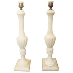 Large  Alabaster Table Lamps  iItaly, 20th Century (Pair)