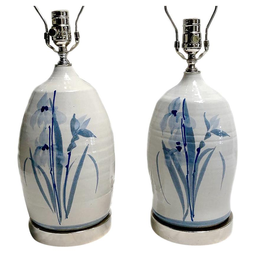 Pair of White and Blue Ceramic Table Lamps