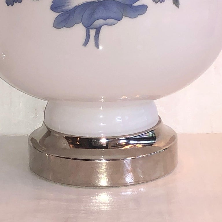 French Pair of White and Blue Opaline Glass Lamps For Sale