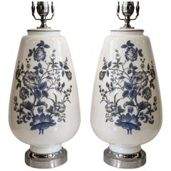 Pair of White and Blue Opaline Glass Lamps