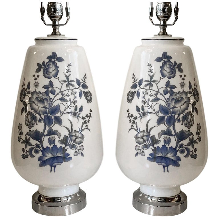Pair of White and Blue Opaline Glass Lamps For Sale