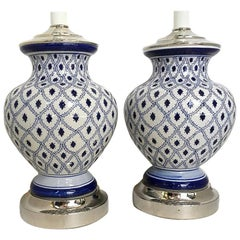 Pair of White and Blue Porcelain Lamps
