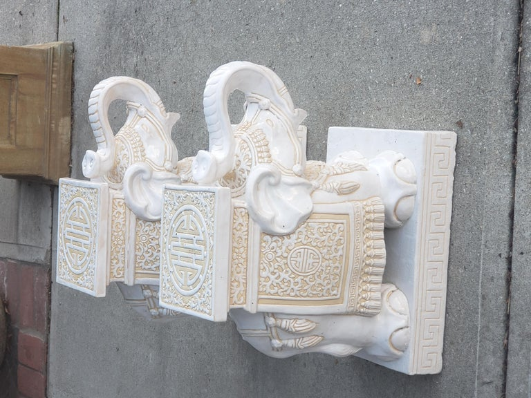 Glazed Pair of White and Cream Elephant Garden Seat For Sale