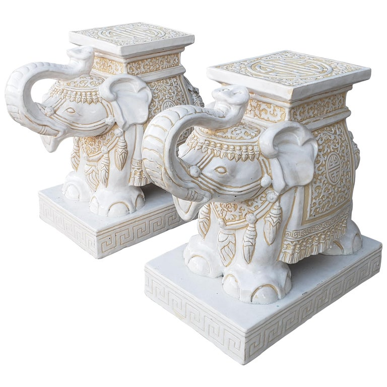 Pair of White and Cream Elephant Garden Seat For Sale