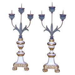 Pair of White and Giltwood Pricket Altar Candlesticks