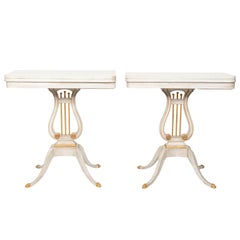 Pair of White and Gold Lyre Game Tables