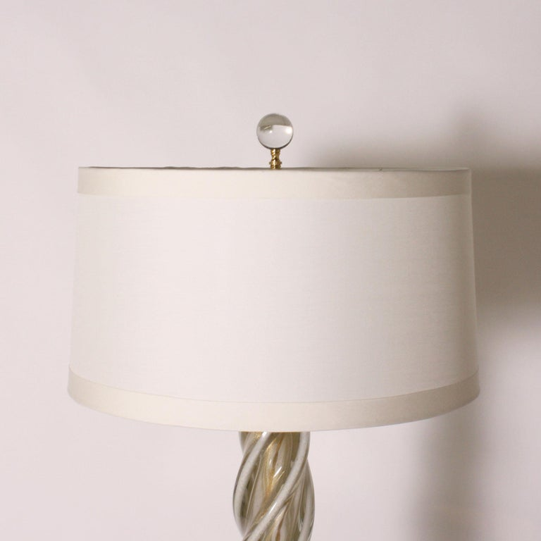 Italian Pair of White and Gold Seguso Murano Lamps, circa 1950 For Sale