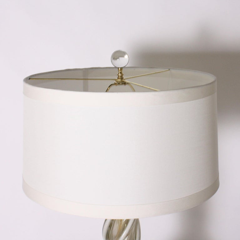 Glass Pair of White and Gold Seguso Murano Lamps, circa 1950 For Sale