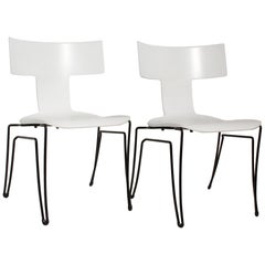 Pair of White Anziano Chairs by John Hutton for Donghia, circa 1985
