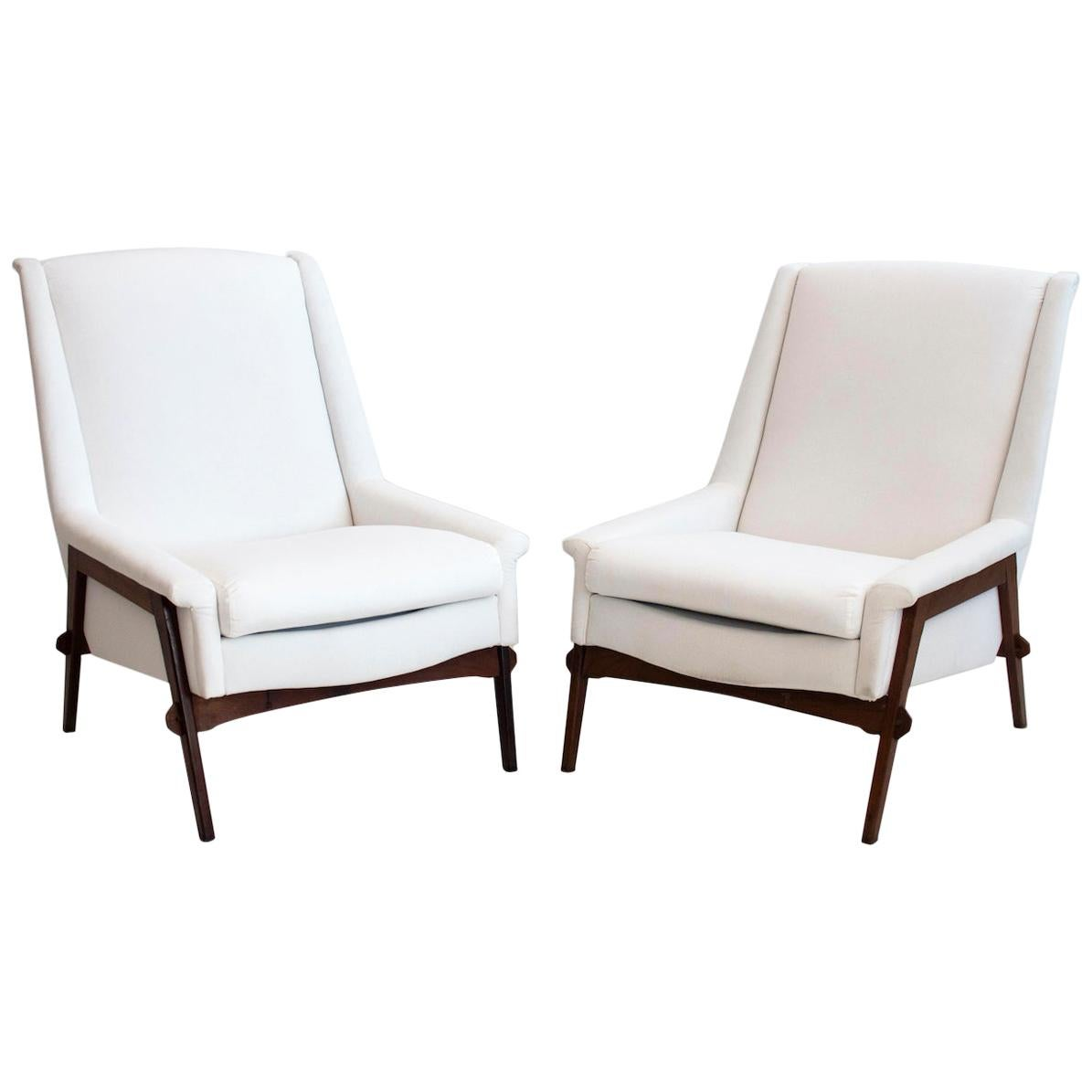 Pair of White Armchairs with Stained Oak Frame