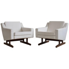 Pair of White Armchairs with Teak Legs