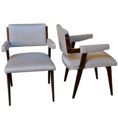 Pair of White Armchairs, Italy, Early 1960s