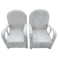 Pair of White Beaded African Ceremonial Chairs