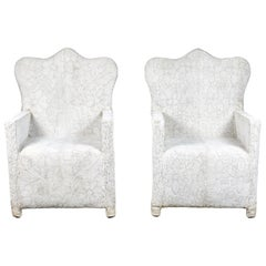 Pair of White Beaded Nigerian Chairs with Crown Top