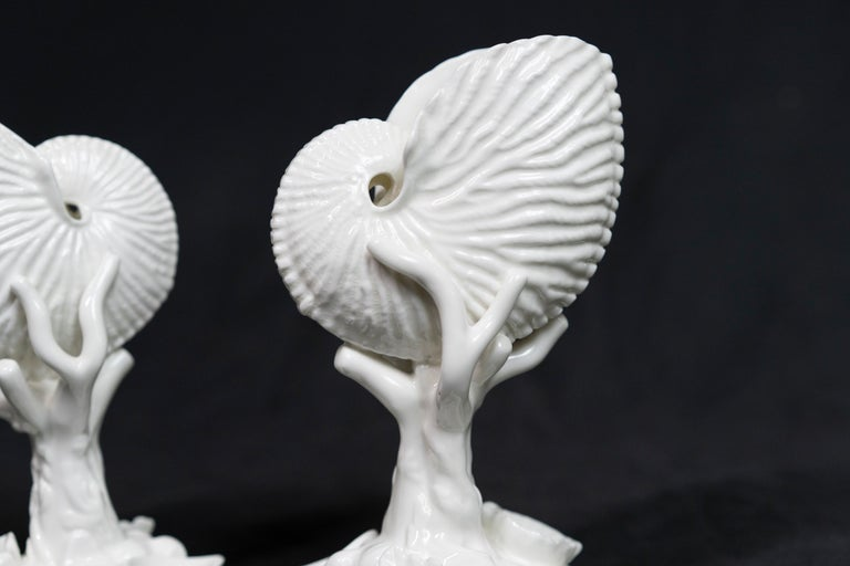 Pair of White Bone China Royal Worcester Nautilus In Good Condition For Sale In Montreal, QC