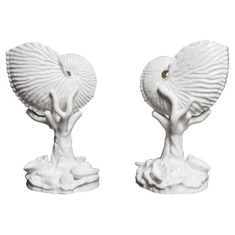 Pair of White Bone China Royal Worcester Nautilus For Sale