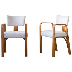 Pair of White Boucle Thonet Chairs