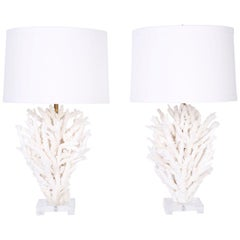 Pair of White Branch Coral Table Lamps