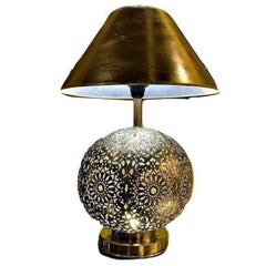 Pair of White Brass Moroccan Table Lamps