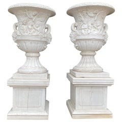 Pair of White Carrara Marble Medici Vases, 20th Century