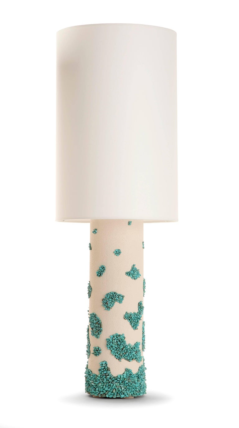 Contemporain white ceramic and turquoise Howlite Lampes Measure: Height with shade 83 cm / without shade, ceramic only: 40 cm Handmade creation 2017.  Price is for the pair (but possibility to separate)   Note: Before using, our international