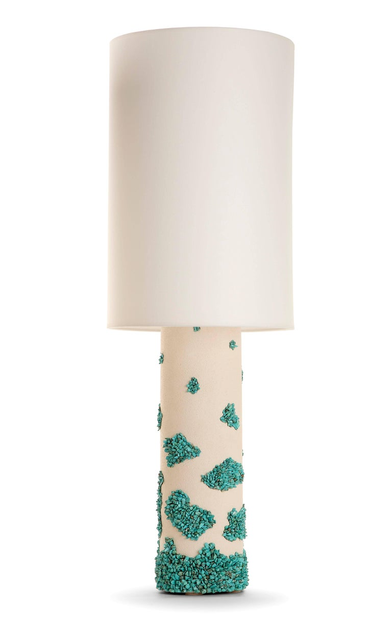 Pair of White Ceramic and Turquoise Howlite Lampes by Stdo In Excellent Condition For Sale In Paris, FR