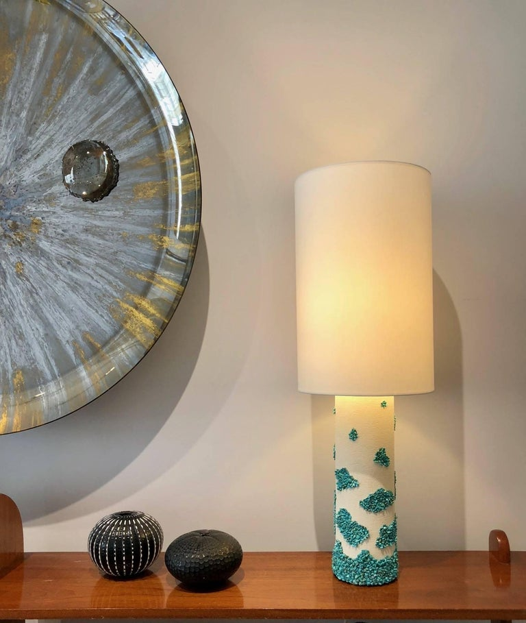 Pair of White Ceramic and Turquoise Howlite Lampes by Stdo For Sale 1