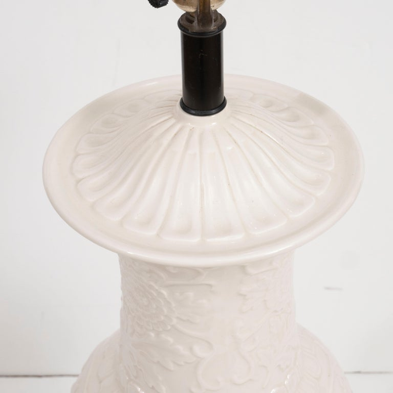 Pair of White Ceramic Lamps For Sale 2