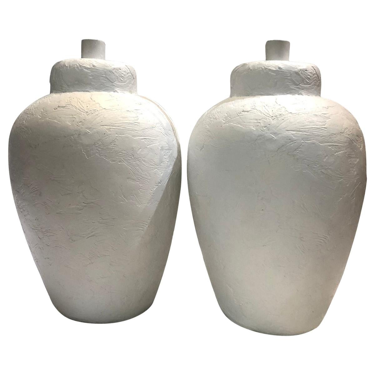 Pair of White Ceramic Table Lamps