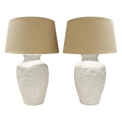 Pair of White Ceramic Table Lamps with Gemotric Motif, 1980s