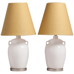 Pair of White Ceramic Urn Shaped Table Lamps, 1960s