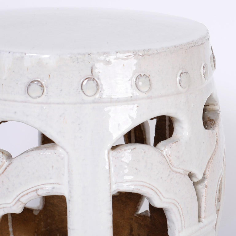 20th Century Pair of White Chinese Garden Seats For Sale