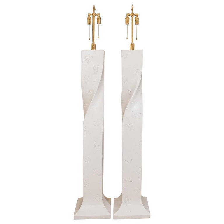 Pair of White Composite Plaster Floor Lamps For Sale