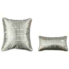 Pair of White Criss Cross Off- White Silk Wool Throw Pillows