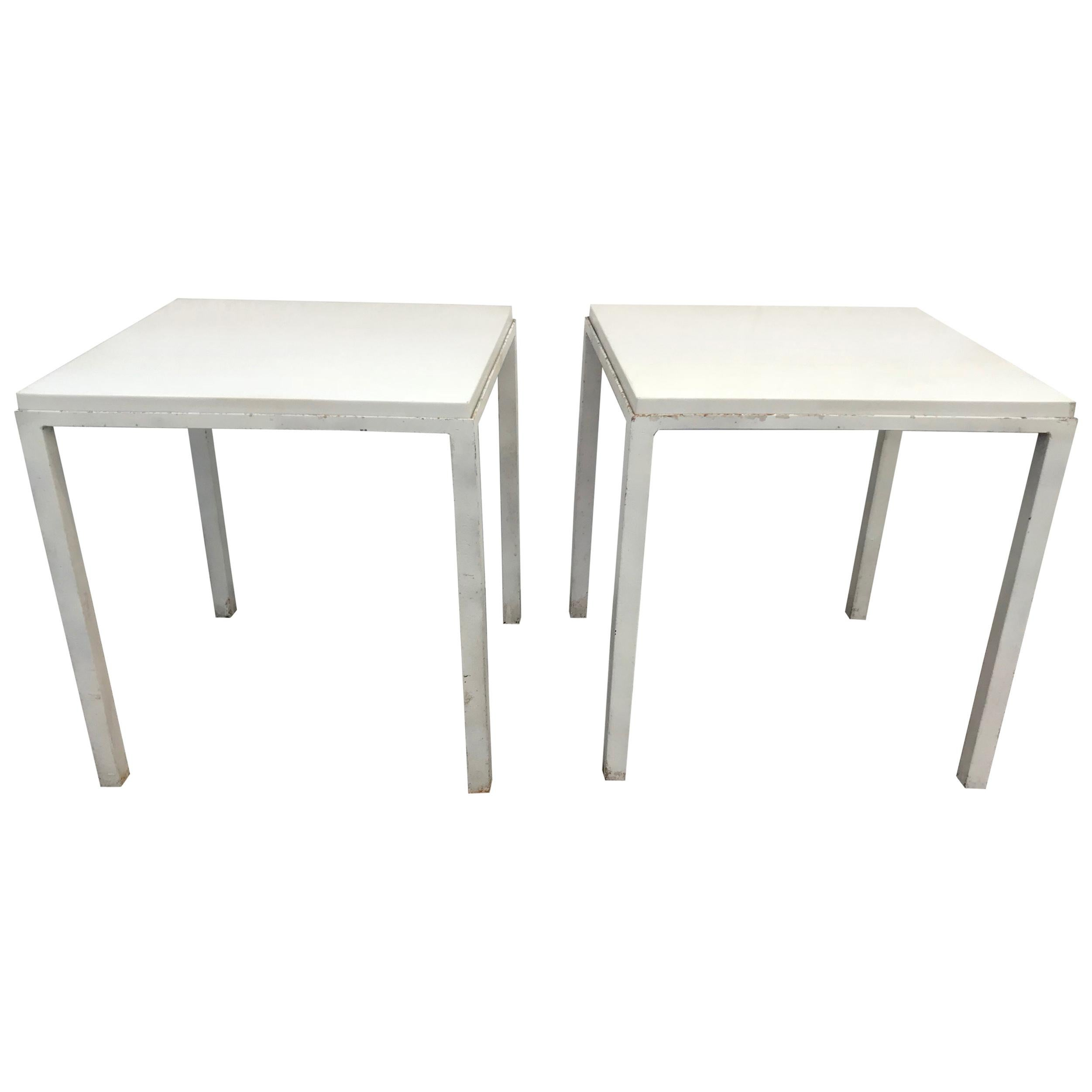 Pair of White Enameled Metal and Granite Side Tables, USA, circa 1955