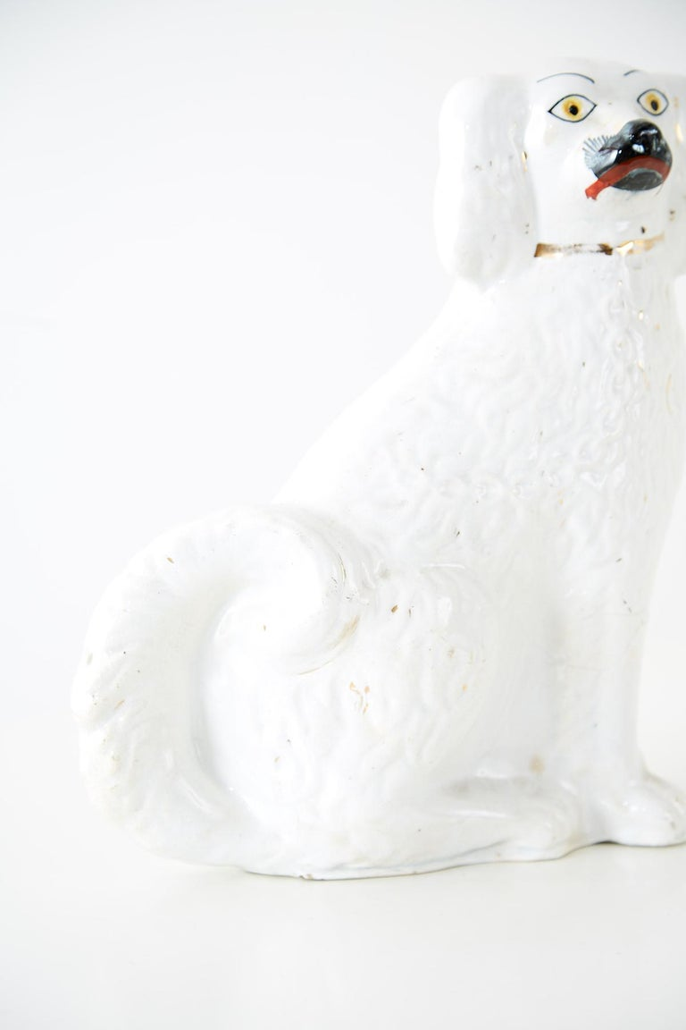 19th Century Pair of White English Staffordshire Spaniels