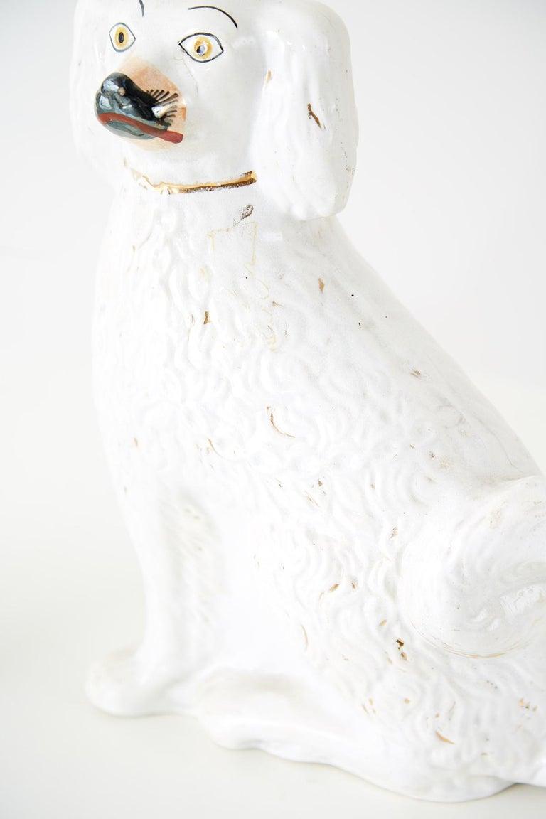 Porcelain Pair of White English Staffordshire Spaniels