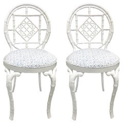 Pair of White Faux Bamboo Chinoiserie Metal Chairs