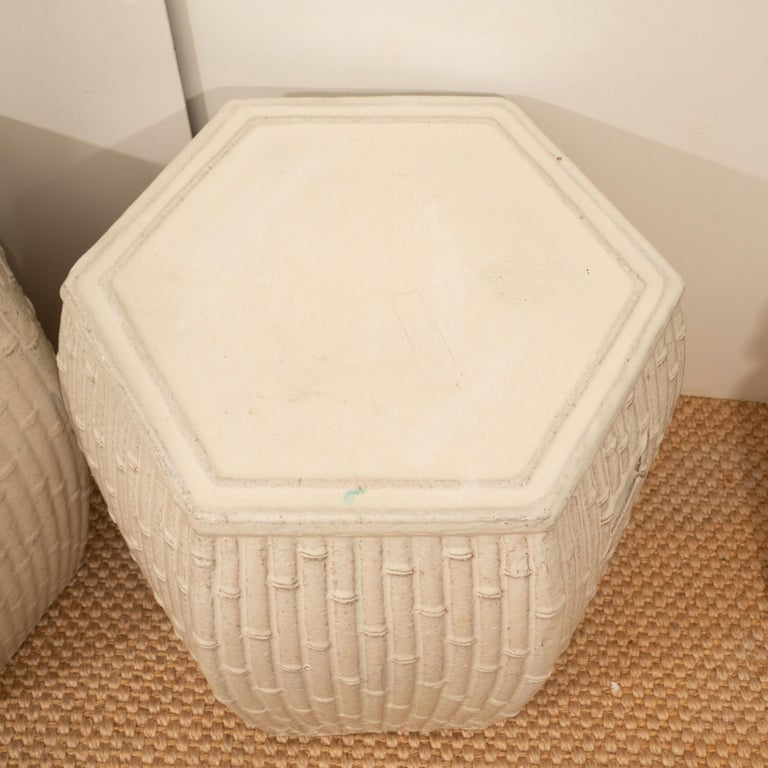 Pair of White Garden Stools In Excellent Condition For Sale In New York, NY